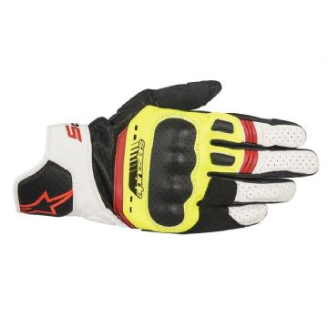 Alpinestars SP-5 White, Fluo, Red Short Leather Racing & Sport Motorcycle Gloves